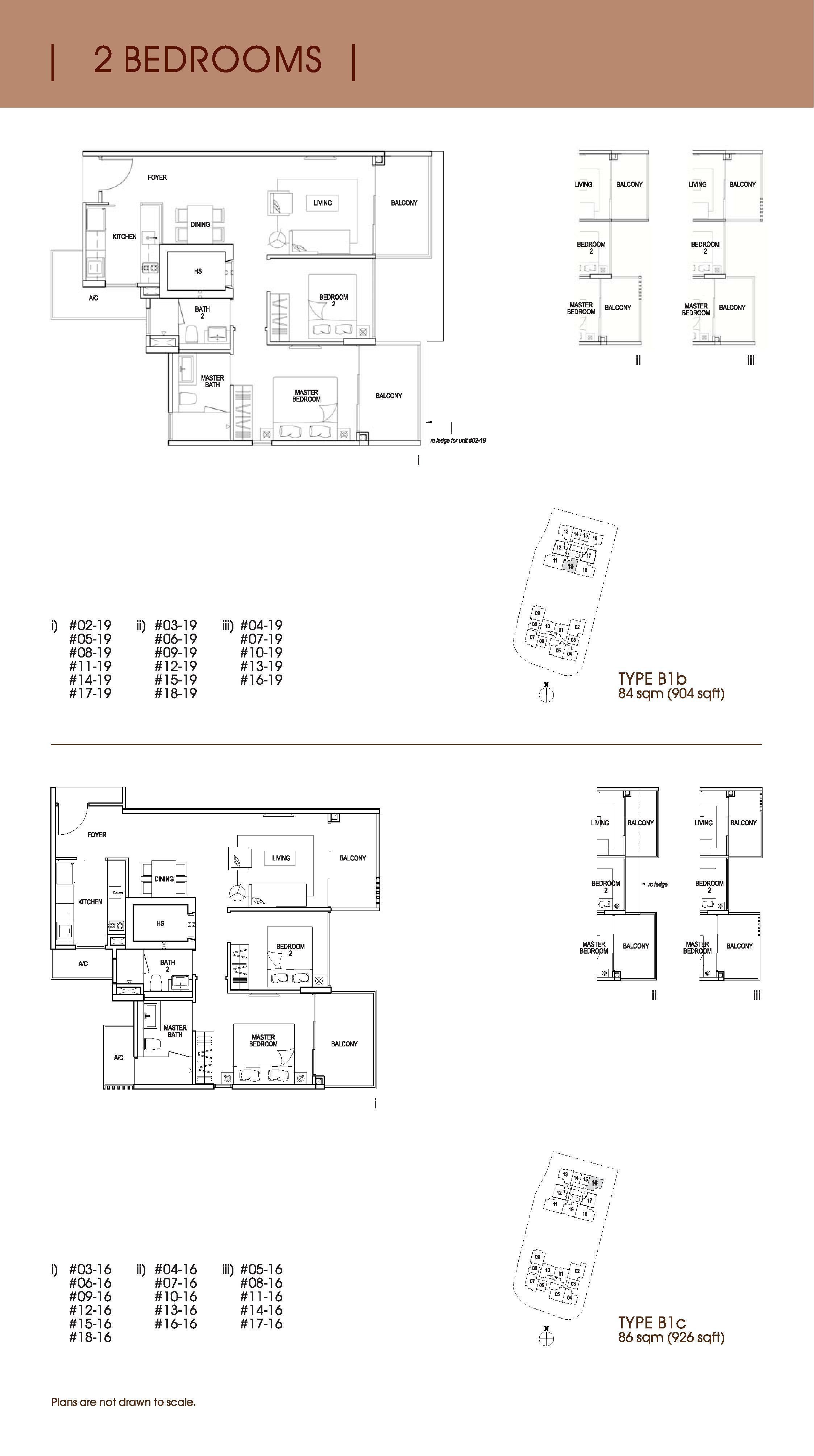 Nin Residence 2 Bedroom Floor Plans Type B1b, B1c