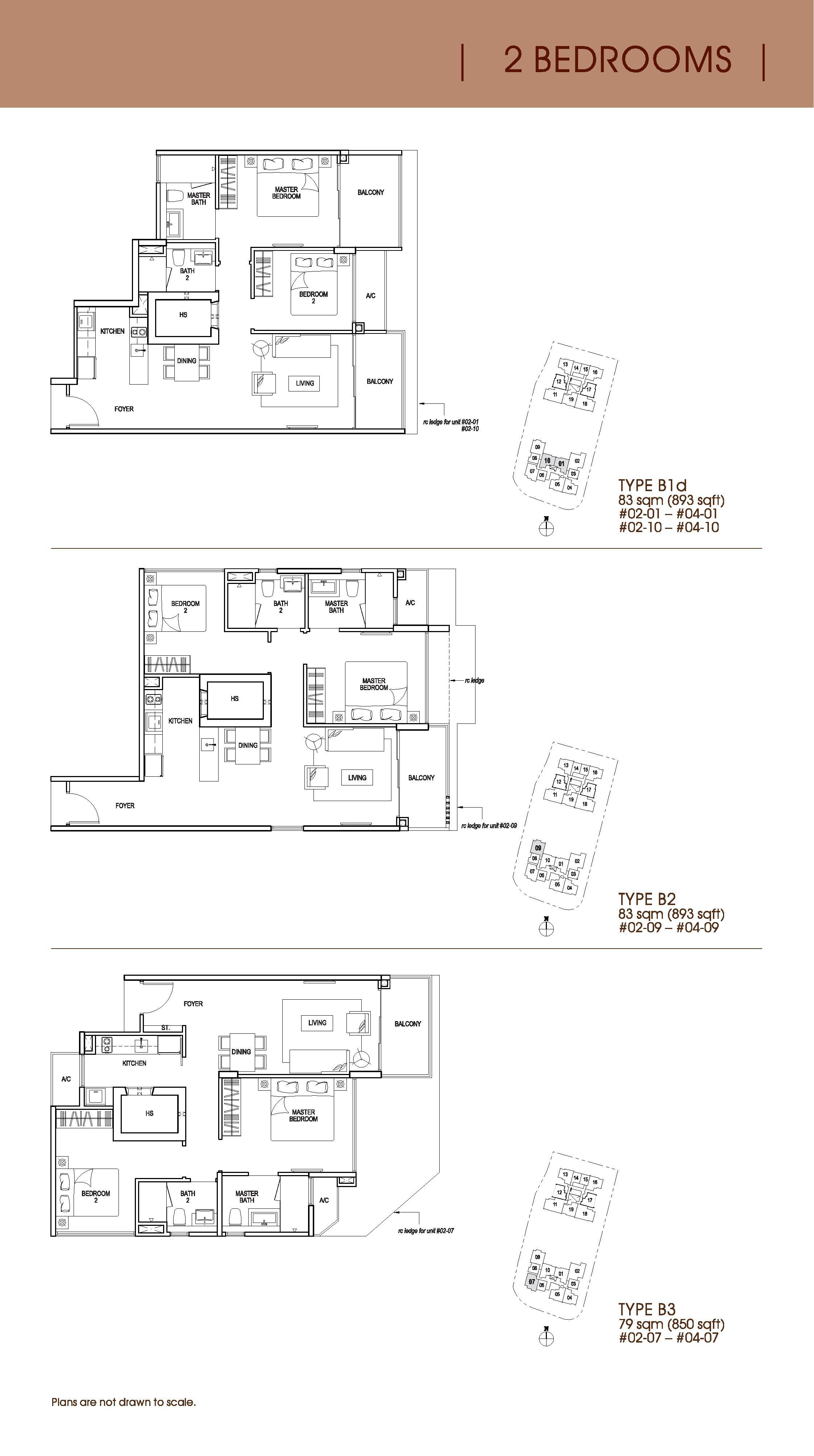 Nin Residence 2 Bedroom Floor Plans Type B1d, B2, B3