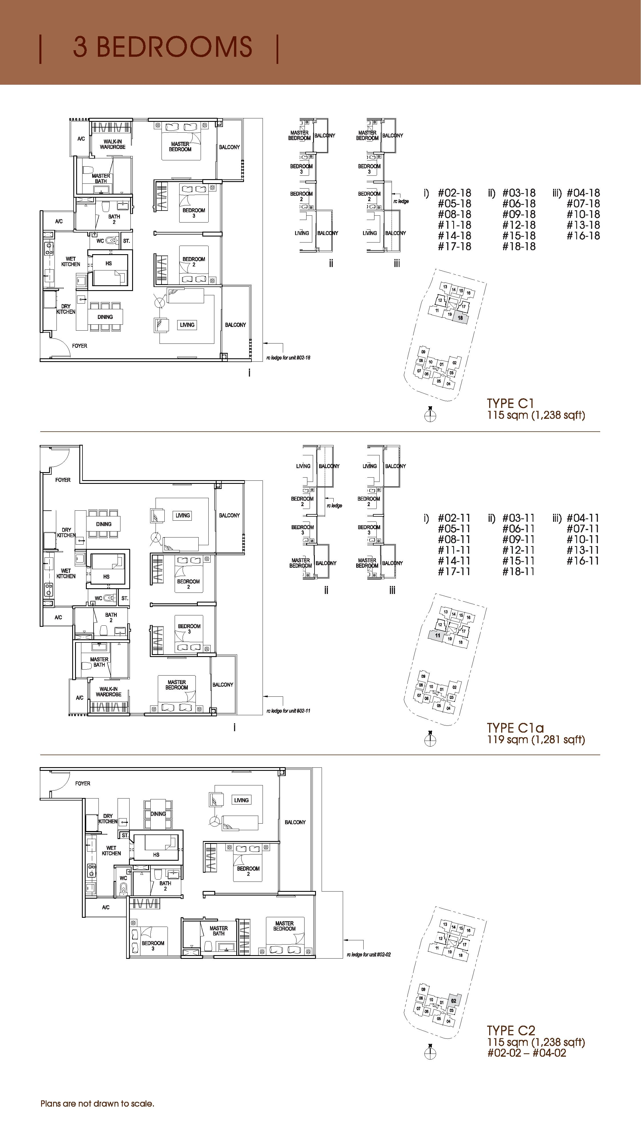 Nin Residence 3 Bedroom Floor Plans Type C1, C1a, C2